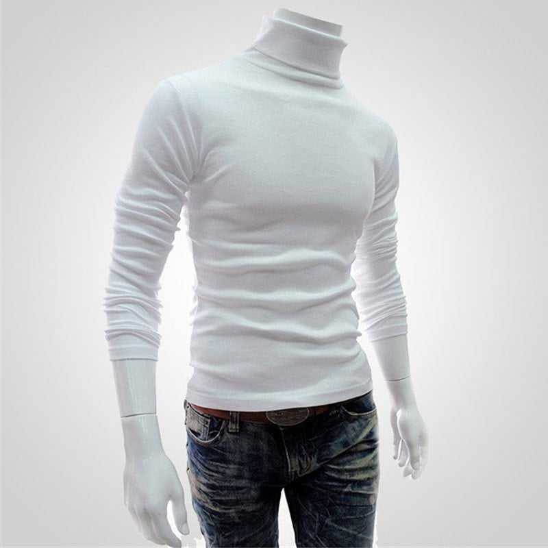 New Winter Turtleneck Sweater Men Pullover Long Sleeve Thermal Sweater Men'S High Collor Knitted Warm Bottom M-XXL