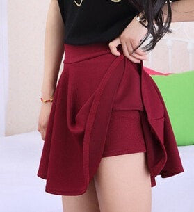Hiawatha M-5XL Plus Size Shorts Skirts Women's Solid Mini Pleated Skirt Fashion High Waist Casual Wear