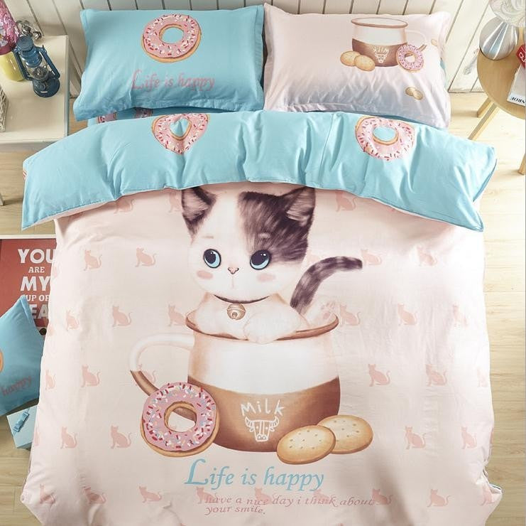 Costbuys  High Quality 100% Cotton Home Decoration Bedding Set Cartoon Printing Bedsheet 4pcs of Bedding Sets Home Textile Full
