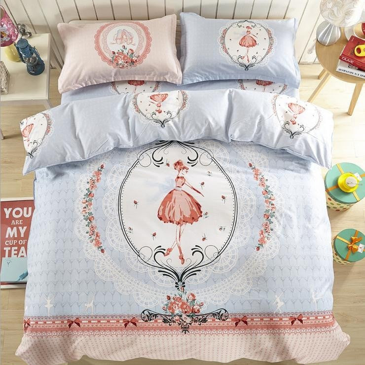 High Quality 100% Cotton Home Decoration Bedding Set Cartoon Printing Bedsheet 4pcs of Bedding Sets Home Textile Full Queen Size