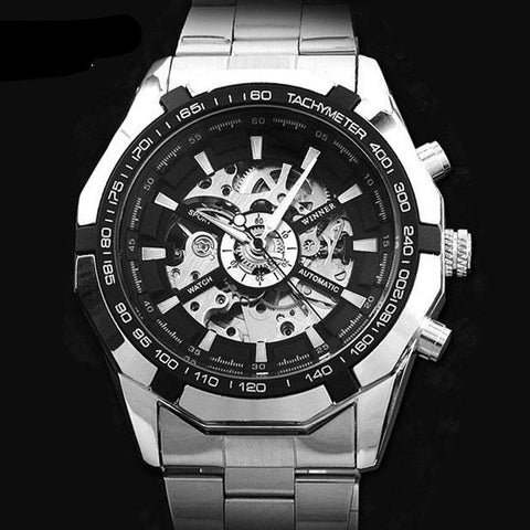 Top Brand Stylish Design Formal Men Mechanical Automatic Self-Wind Black Steel Band Skeleton Dress Wrist Watch Gift