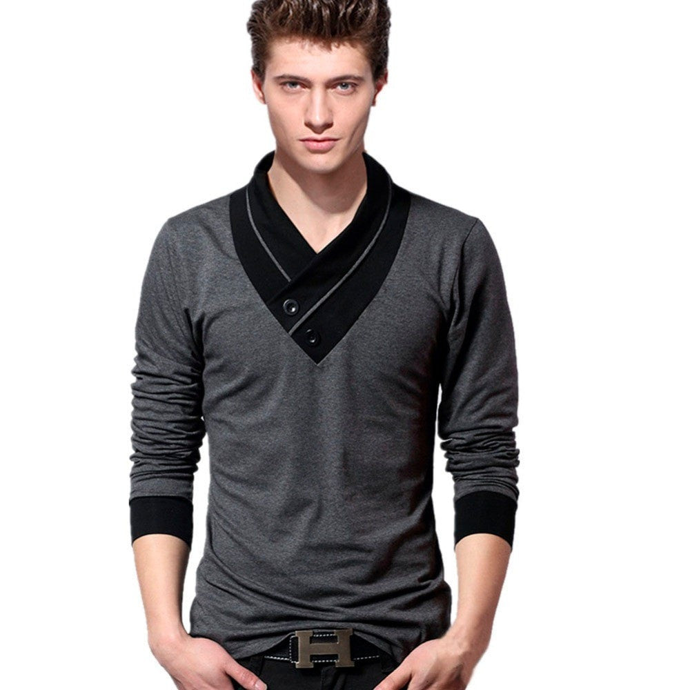 Men Long sleeve T Shirt Casual Shirt Slim Fit Tee T-Shirts V-Neck Men T-shirt Size M L XL 2XL 3XL 4XL 5XL
