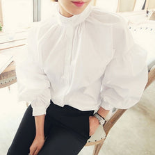S-XL Plus Size Pleated Stand Collar Puff Loose Long White Blouse 2017 Vintage Cotton Tops Fashion Womens Lantern Sleeve Shirt