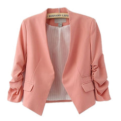 Spring autumn  blazer women Candy Color ladies coat Slim Solid puff sleeve blazers Basic jackets