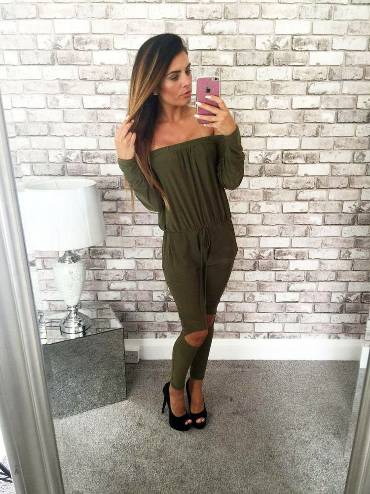 Autumn Women Jumpsuit Cut Out Off Shoulder Fashion Long Sleeve Rip Knee All In One Ladies Casual Jumpsuits