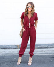 2016 New Autumn Rompers Women Jumpsuits Fashion Solid 3-colors V-neck strap cross Siamese Sexy Straight Chiffon women Jumpsuits