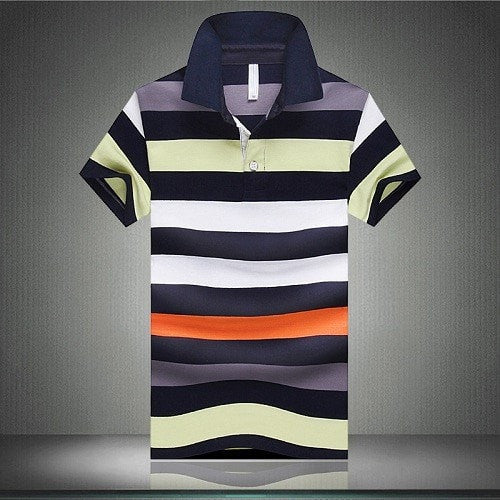 Hot Sale Summer Fashion Striped Men Polo Shirts Casual Slim Fit Short Sleeve Polo Men Plus Big Size M-4XL Polo Homme