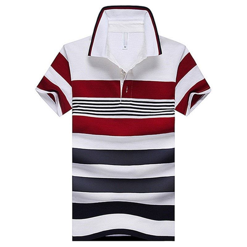 Men's Polo Summer Striped Red Classic Casual Turn-down Collar Polo Short-sleeve Male New Arrival Polo