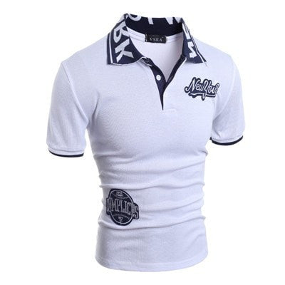 Cotton POLO For Male Short Sleeve Patch Designs New York Embroidery Polo Shirt Men Casual Fitness Slim Black White