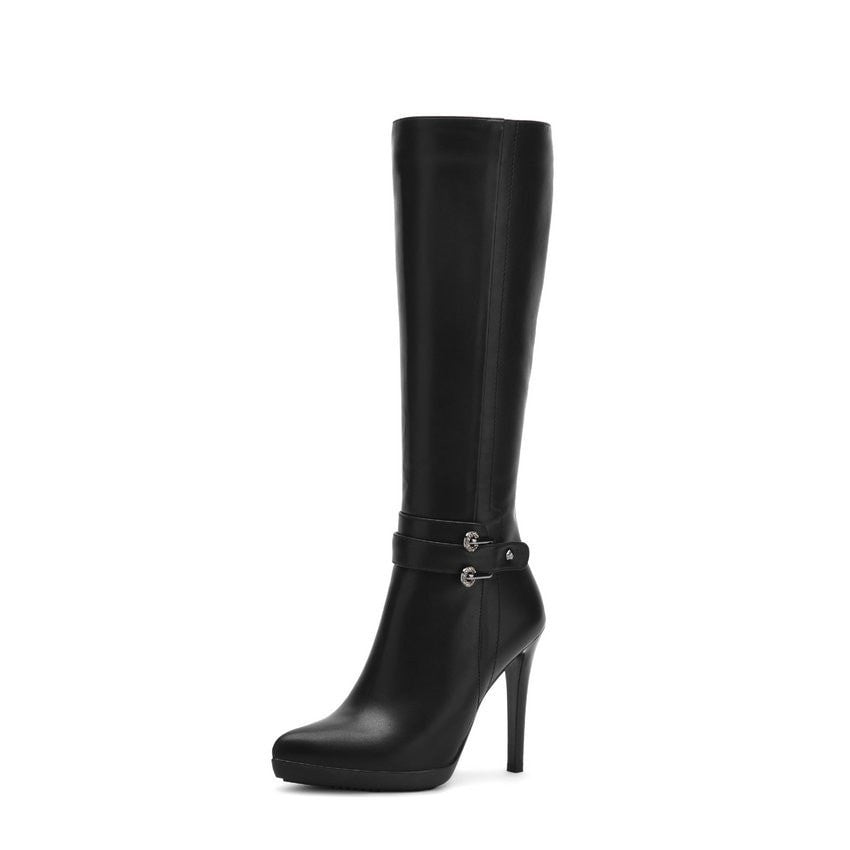 Winter Knee High Boots PU leather Thin High Heel Pointed Toe Women Shoes Boots Black Sown Boots size 34-39