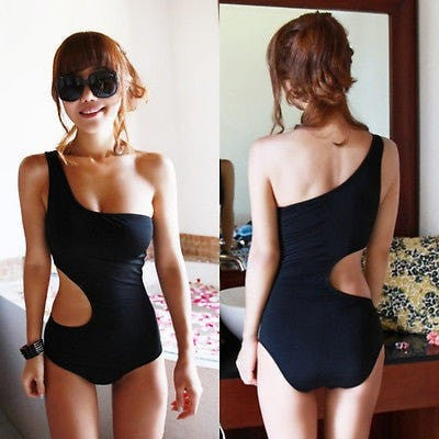 Sexy One Piece Swimsuit Bandage For Women Solid One shoulder Cut Out Monokini Swimwear Bathing Suit bodysuit Black