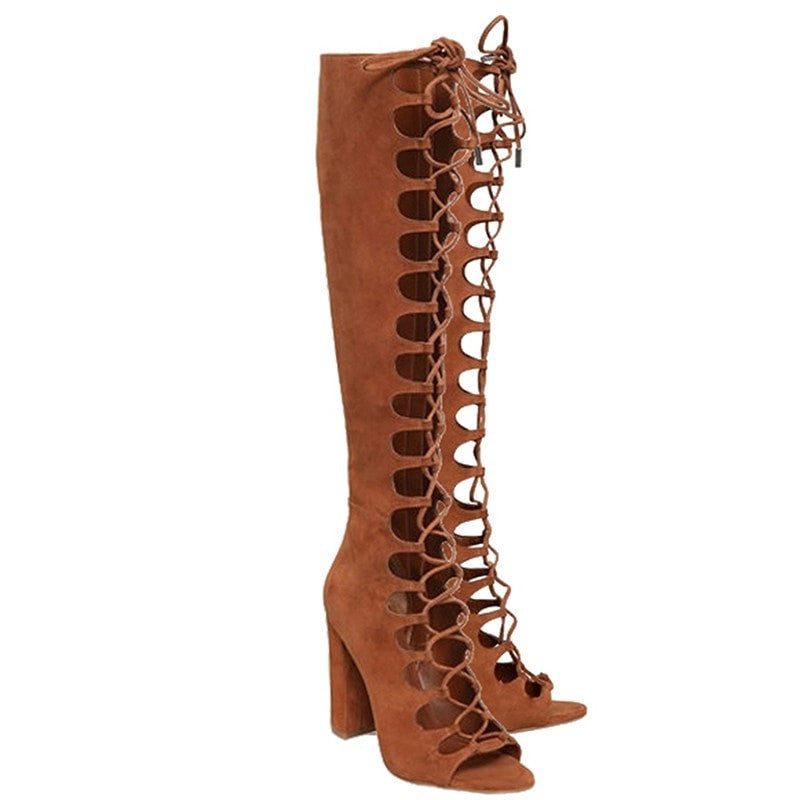 Fashion Summer Boots Knee High Boots Women Brown Color Sexy Lace-up Peep Toe Boots Genuine Leather Shoes for Women Pumps