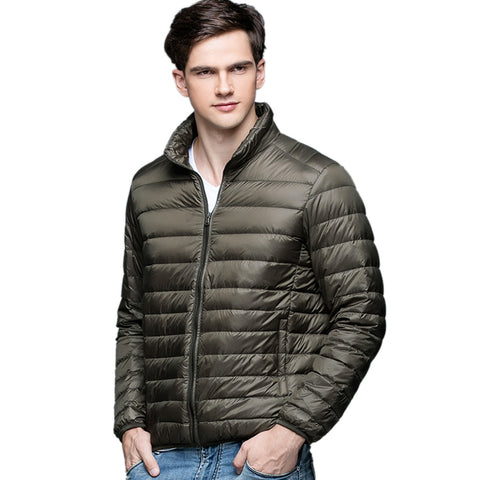 Autumn Winter man Duck Down Jacket Ultra Light Thin Plus Size Spring Jackets Men Stand Collar Outerwear Coat