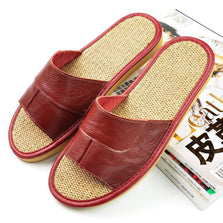 2016 Cool Animal Leather Slippers Summer Leather Flax Slippers For Man Beach Flip Flops Sandals With Flats Casual