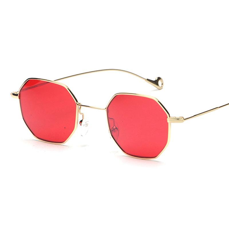 a683d12c182 red tinted sunglasses women small frame polygon vintage sun glasses –  Costbuys