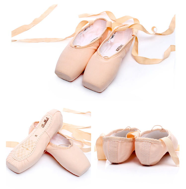 0100ce86a Satin Canvas Pointe Shoes With Ribbon And Gel Toe Pad Girls Women's Pink  Professional Ballet Dance