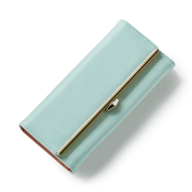 Costbuys  Women Leather Wallet Lady Portable Multi-function Long Solid Color Change Purse - green