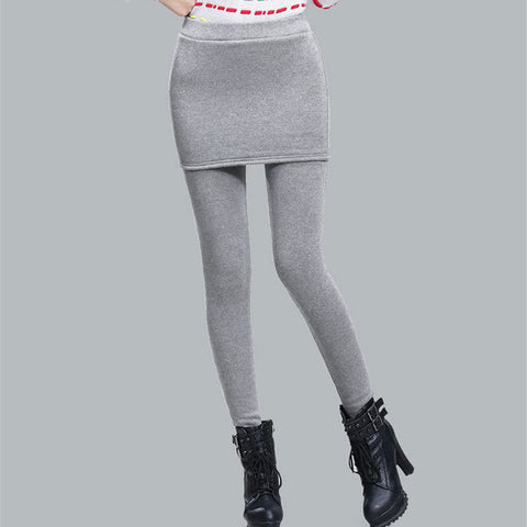 Add Fleece Lady Warm Skinny Pants Plus Size S-4XL Skirt + Long Trousers Women Black Winter Leggings