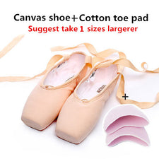 Satin Canvas Pointe Shoes With Ribbon And Gel Toe Pad Girls Women's Pink Professional Ballet Dance Pointe Toe Shoes