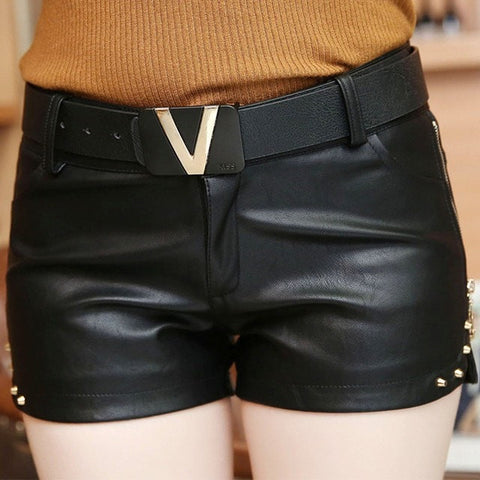 New Fashion Summer Women's Sexy Black Red PU High Waist Shorts Vintage Slim Slit High quality Plus size 2XL Leather Shorts
