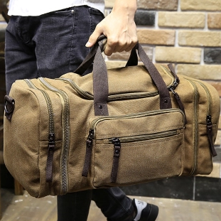 Costbuys  Vintage military Canvas men travel bags Carry on Luggage bags Men Duffel bags travel tote large weekend Bag Overnight