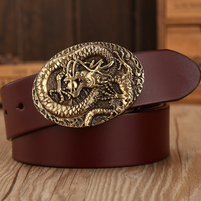 Hot designer belt men high quality vegetable tanned full grain cowhide 100% genuine leather luxury tiger solid brass
