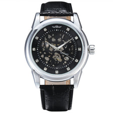Automatic Mechanical Men Watches Diamond Index Multi-Layer Skeleton Dial Leather Strap Male Dress Wristwatch