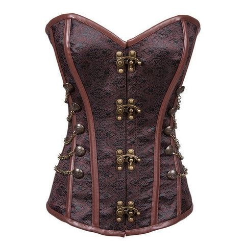 24 Spiral Steel Boned Waist Cincher Brocade Waspie Underbust Corset Black Plus Size S-6XL Corselet Shaper Waist Trimmer