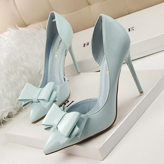 Shoes Woman Fashion Sweet Bowtie Pointed Toe Sexy Women Party Shallow Mouth Side Hollow Women Thin High Heel Shoes