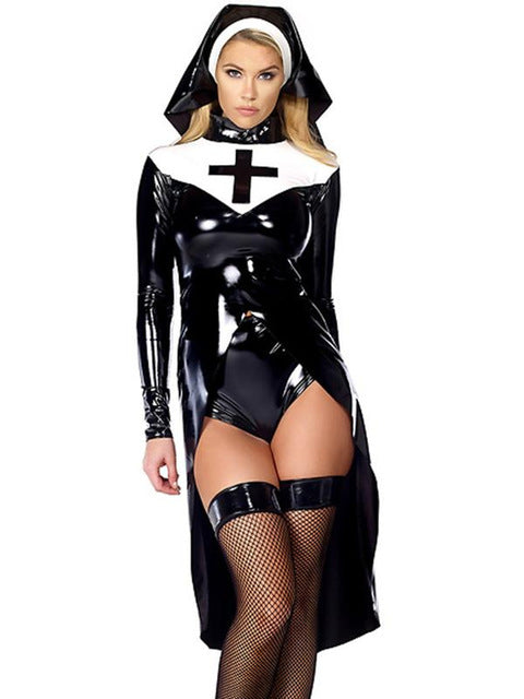 Costbuys  Halloween cosplay M, L, XL Fashion Black Women sexy nun costume Vinyl Leather Cosplay Halloween Costume - Black / L /