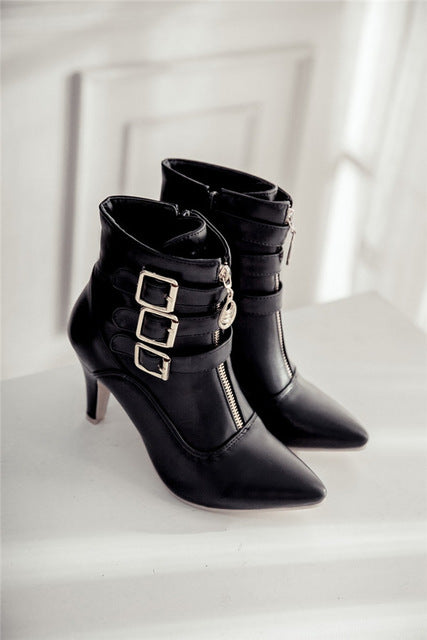 Costbuys  New Shoes Women Boots High Heels Ankle Boots Pointed Toe Buckle Boots Zip Ladies Shoes White - Black / 10