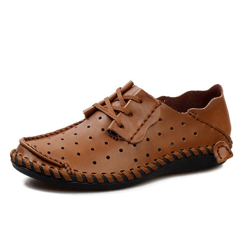 Men's Classic Casual Breathable Soft Leather Driving Loafer Brown 44