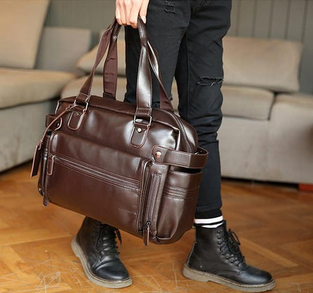 Costbuys  Young Fashion mens leather travel bag vintage duffle handbags large men business luggage bag with shoulder strap sac v
