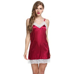 Women Lace Dress Sexy Sling Sleepwear Satin Nightgown Chemise Slip Nightdress back Cross straps Sexy Lady sleep dress