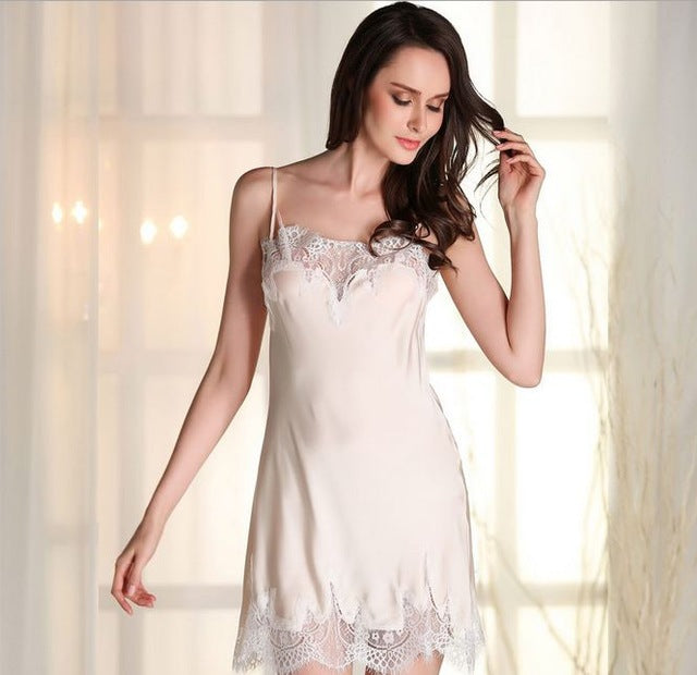 Costbuys  High Quality Brand Women Lace Sexy Special Spaghetti Strap Nightgown Faux Silk Women Sleepwear Lounge - Champagne / L