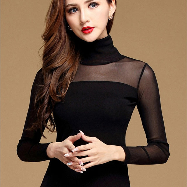 Costbuys  Women Blouse Shirt Black White Sexy Long Shirt Casual Long Sleeve Lace Blouse Under Shirts Hollow Tops For Woman - Hig