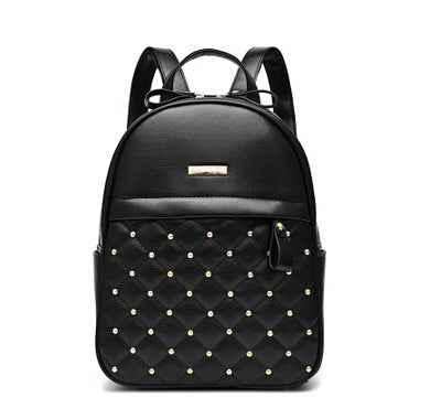 Costbuys  Women Backpacks Causal Bags Rivet Bead Shoulder Bag PU Leather Backpacks For Girls Women Bag - Black