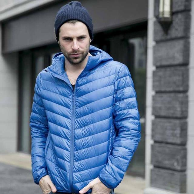 Costbuys  Winter Men Cotton Mens Hooded Clothes Outwear Warm Ultra Light Thin Parkas Coats Black Plus Size Spring - royal blue /