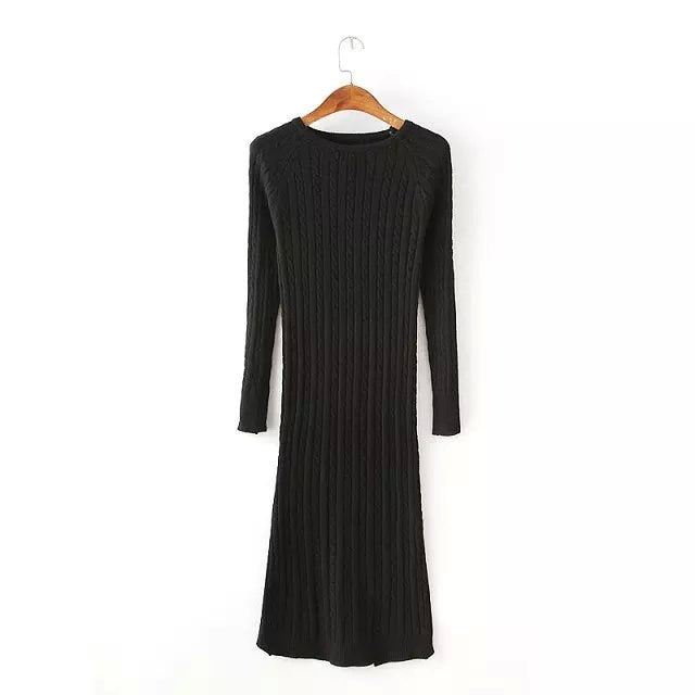 Costbuys  Women Twisted Back Slit Sweater Dress Solid dames knitted pull Femme Long sleeve midi pullover Sweater Dresses - Black