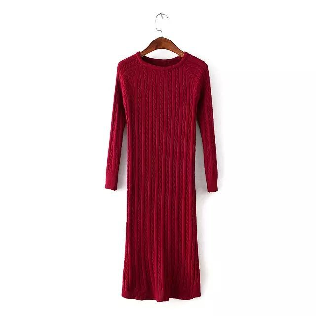 Costbuys  Women Twisted Back Slit Sweater Dress Solid dames knitted pull Femme Long sleeve midi pullover Sweater Dresses - Wine