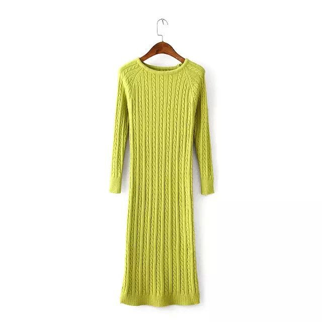 Costbuys  Women Twisted Back Slit Sweater Dress Solid dames knitted pull Femme Long sleeve midi pullover Sweater Dresses - Green