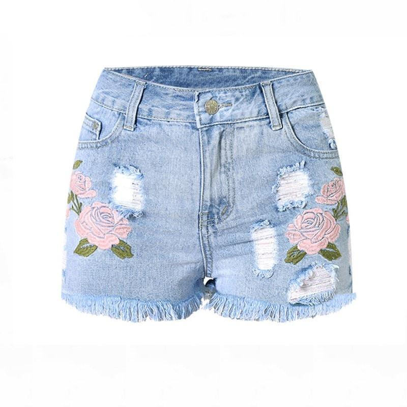 fashion embroidery denim shorts floral high waist jeans short femme fr costbuys. Black Bedroom Furniture Sets. Home Design Ideas