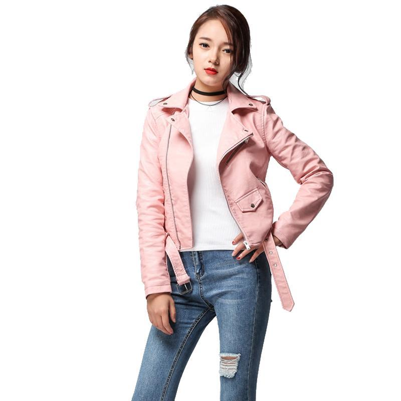 Spring Autumn Women Faux Soft Leather Jacket Long Sleeve Pink Biker Coat Zipper Design Motorcycle PU Red Jacket