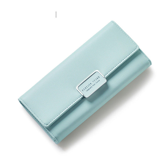 Costbuys  Elegant Women Long Leather Wallet Portable Multi-function Solid Color Purse - Light Green