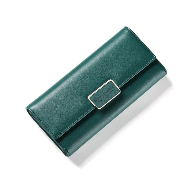 Costbuys  Elegant Women Long Leather Wallet Portable Multi-function Solid Color Purse - Dark Green