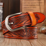 new arrival high quality leather belts for men pin buckle punk handcrafted eagle shells belt cowboy mens waist strap jeans