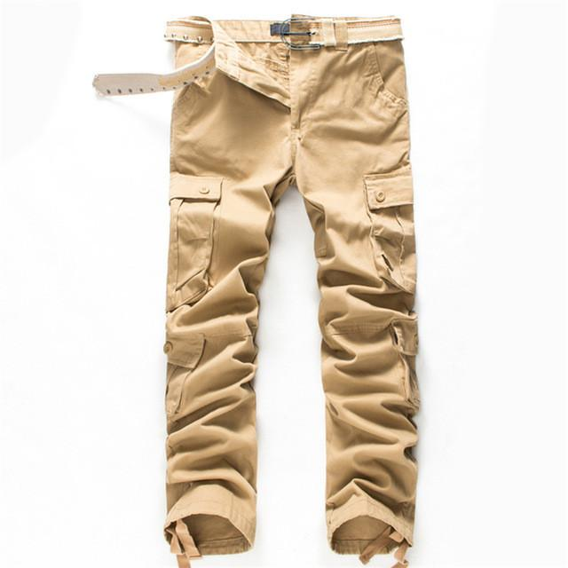 Costbuys  New Brand High Quality Spring Style Mens Khaki Cargo Pants Casual Pants Men Joggers Pants Cotton Long Trousers - Khaki
