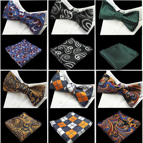 New Design Self Bow Tie And Hanky Set Silk Jacquard Woven Men Butterfly BowTie Pocket Square Handkerchief Suit Wedding