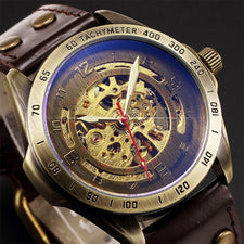 Antique Design Automatic Skeleton Mechanical Watch Vintage Leather Men's Wristwatch Skeleton Steampunk Clock Male Blue Dial