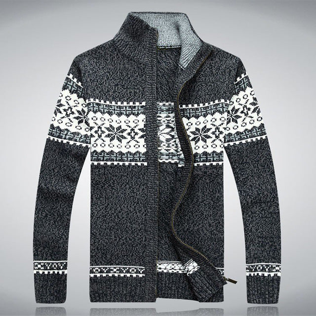 Men Sweater Autumn Winter Wool Cardigan Men's Fashion Casual Jacquard Sweater coat Male Knitting Sweter